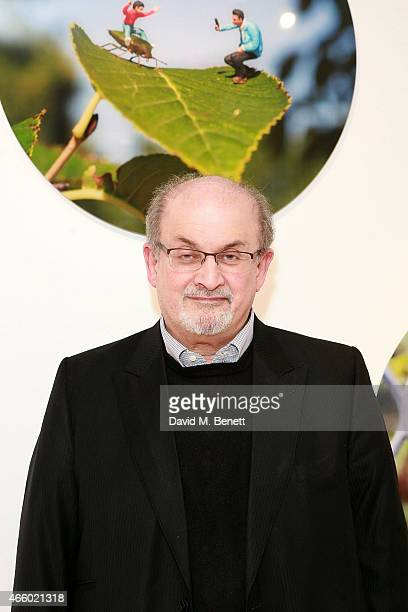 Salman Rushdie attends a private view of Miniaturesque by Slinkachu at Andipa Gallery on March 12 2015 in London England