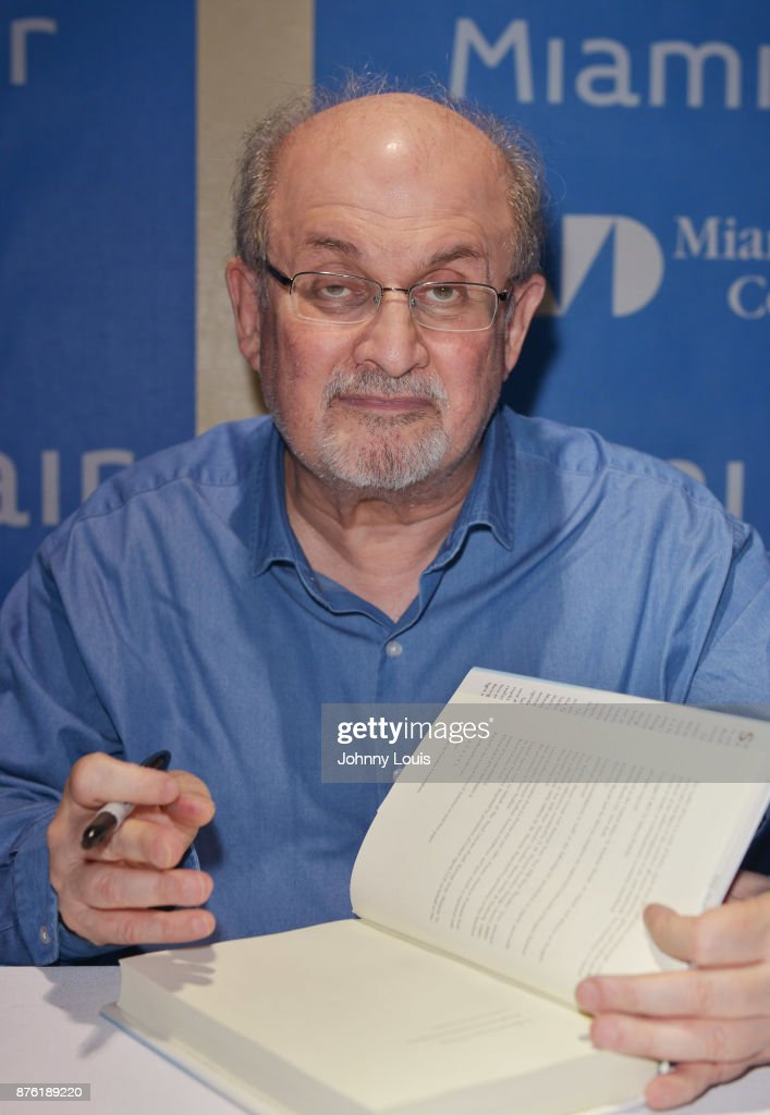 Salman Rushdie attends The Miami Book Fair at Miami Dade College Wolfson - Chapman Conference Center on November 18, 2017 in Miami, Florida.