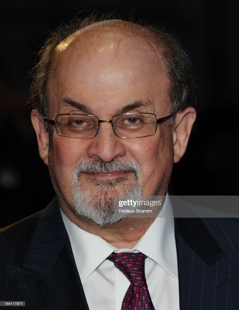 <a gi-track='captionPersonalityLinkClicked' href=/galleries/search?phrase=Salman+Rushdie&family=editorial&specificpeople=203293 ng-click='$event.stopPropagation()'>Salman Rushdie</a> attends the premiere of 'Midnight's Children' during the 56th BFI London Film Festival at Odeon West End on October 14, 2012 in London, England.