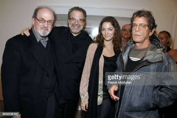 Salman Rushdie Clifford Ross Sofia Sanchez and Lou Reed attend CLIFFORD ROSS Gallery Opening at Sonnabend Gallery on October 24 2009 in New York City