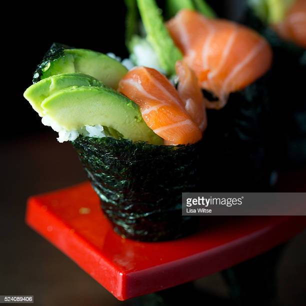 Salmon and avocado hand roll at Kumo Restaurant in Stamford Connecticut Photo by Lisa Wiltse for the New York Times