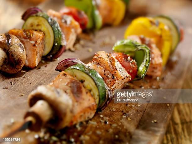 BBQ Salmon and Vegetable Kabobs