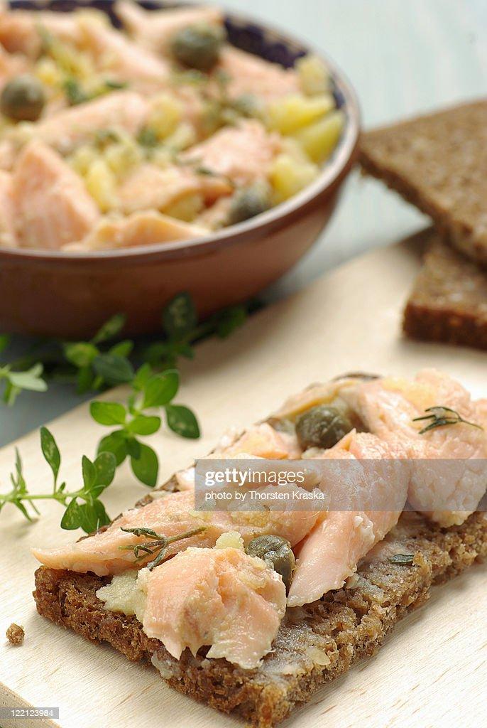 Salmon bread spread : Stock Photo