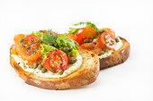 Delicious and healthy salmon open faced sandwich (bruschetta).