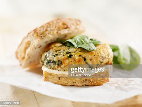 Salmon Burger With Spinach And Mayo Stock Photo | Getty Images