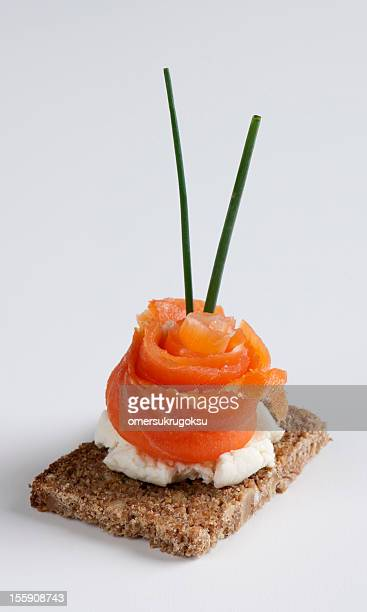 Salmon canape isolated on a white background