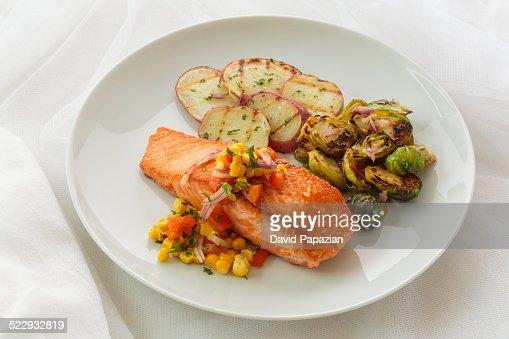 Salmon Dinner on white background
