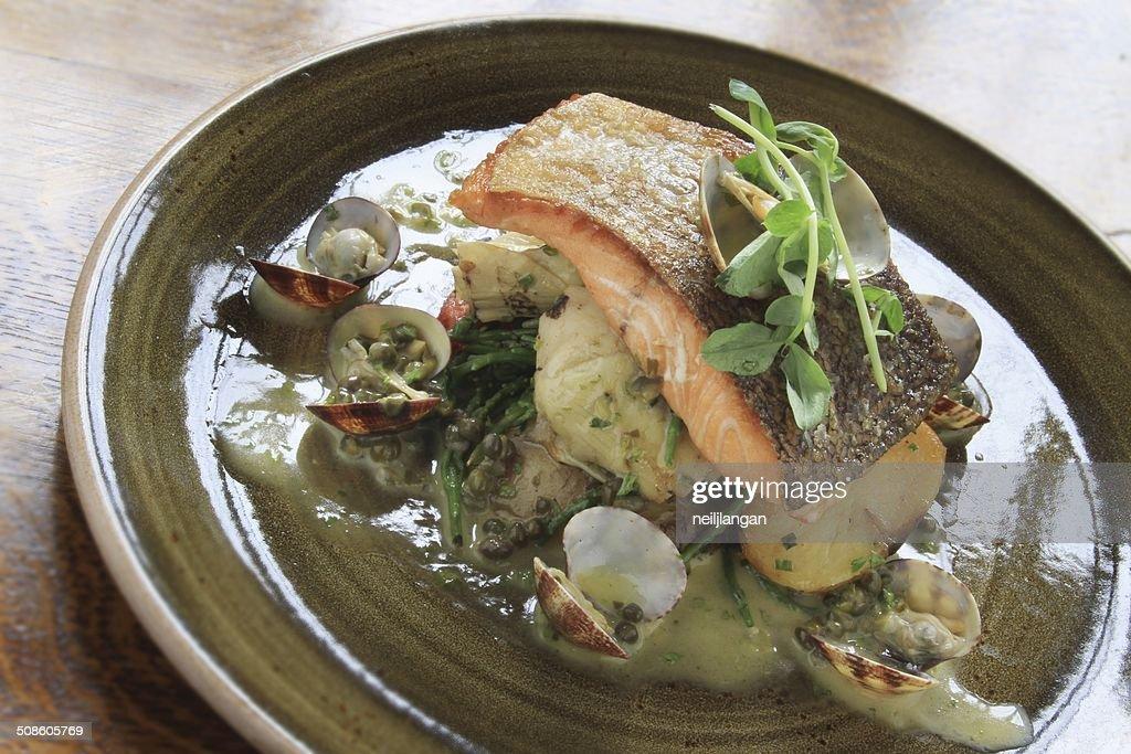 Filete de salmão refeição : Foto de stock