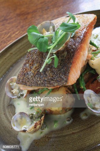 salmon fillet meal : Stock Photo