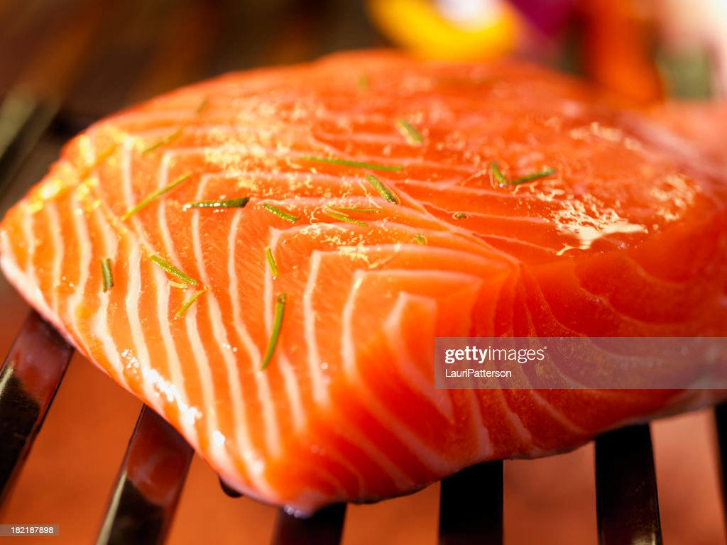 Salmon Fillet on BBQ with Fresh Herbs : Stock Photo