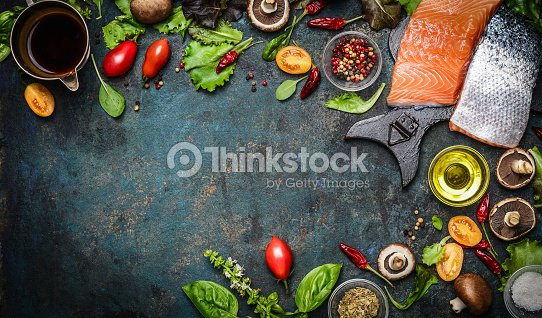Salmon fillet with fresh ingredients for tasty cooking : Stock Photo