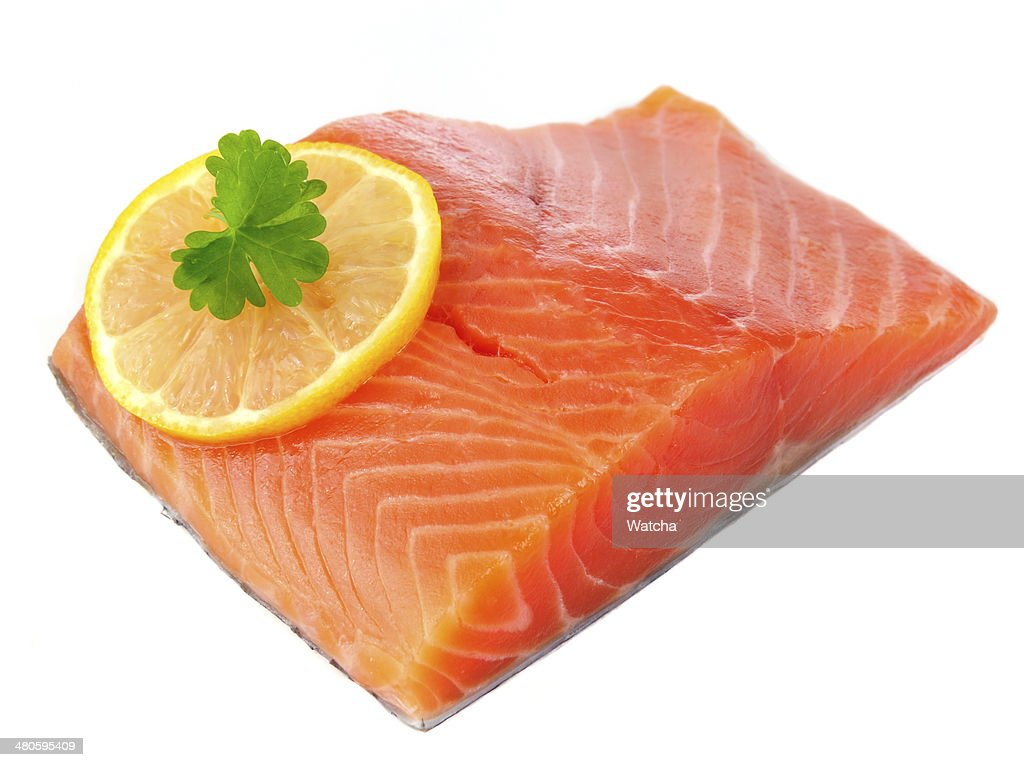 Salmon Fillet with Lemon Isolated on White Background : Stock Photo