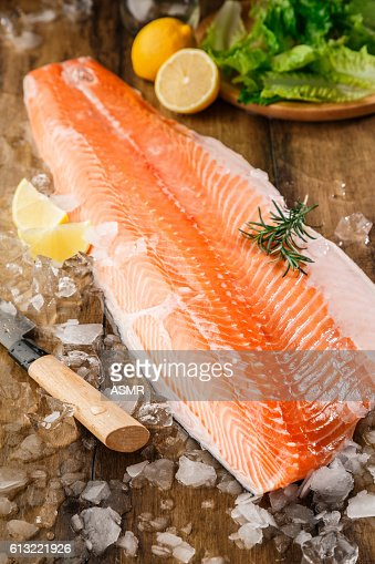 Salmon fish on the wooden table