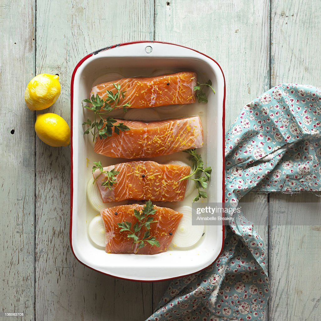 Salmon in a Baking Dish with Lemons : Stock Photo