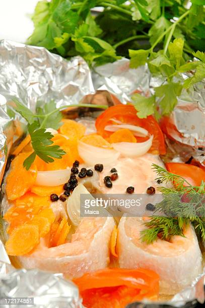 En papillote stock photos and pictures getty images - Saumon en papillote ...
