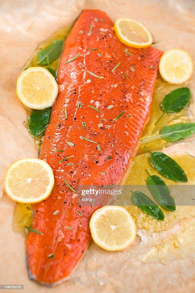 Salmon Marinating : Stock Photo
