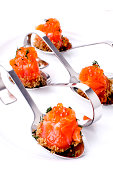 Salmon rolls with red caviar and bread crumbs Boro