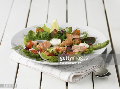 Salmon salad with cherry tomatoes : Stock Photo
