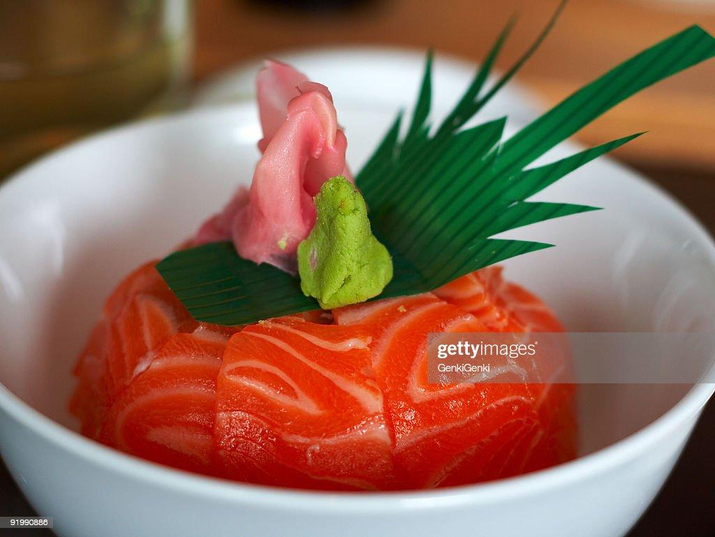 Salmon Sashimi & Rice : Stock Photo
