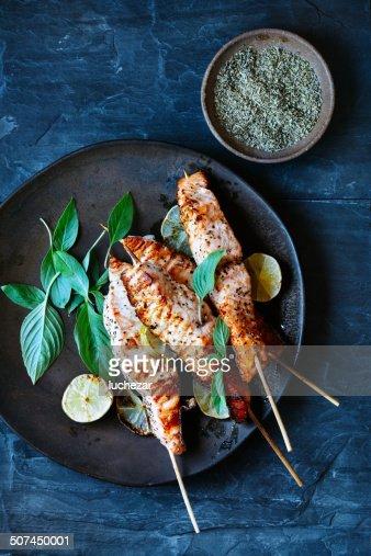 Salmon satay