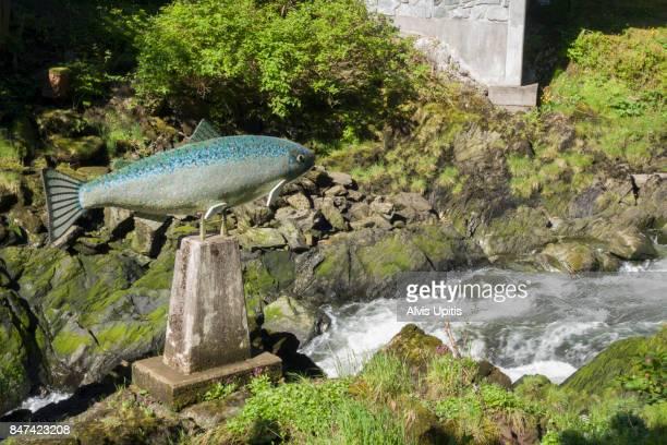 Salmon sculpture along Creek Street in Ketchikan, Alaska