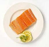 Salmon steak on a plate