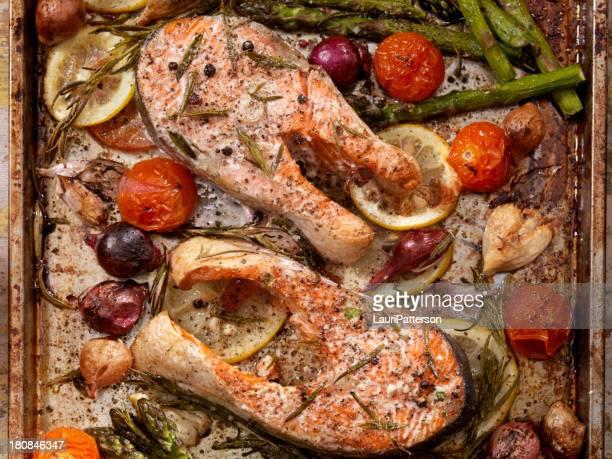 Salmon Steaks in a Roasting Pan