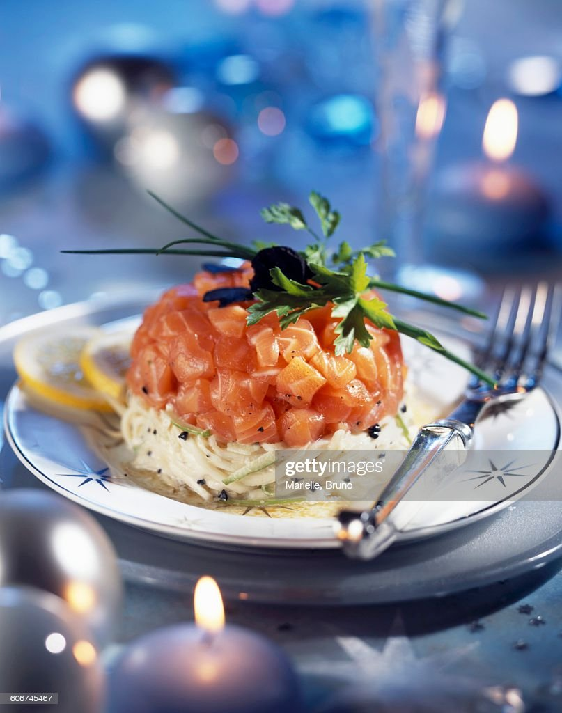 salmon tartare, apple remoulade with truffle