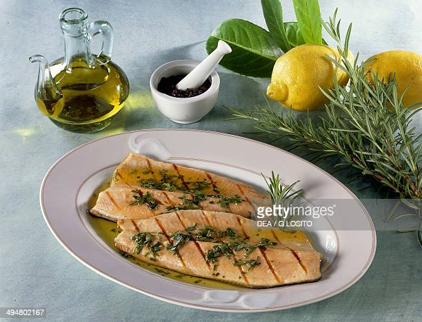 Salmon trout with herbs