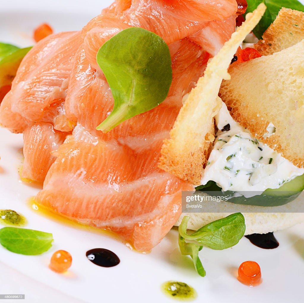 Salmon with cream cheese : Stock Photo