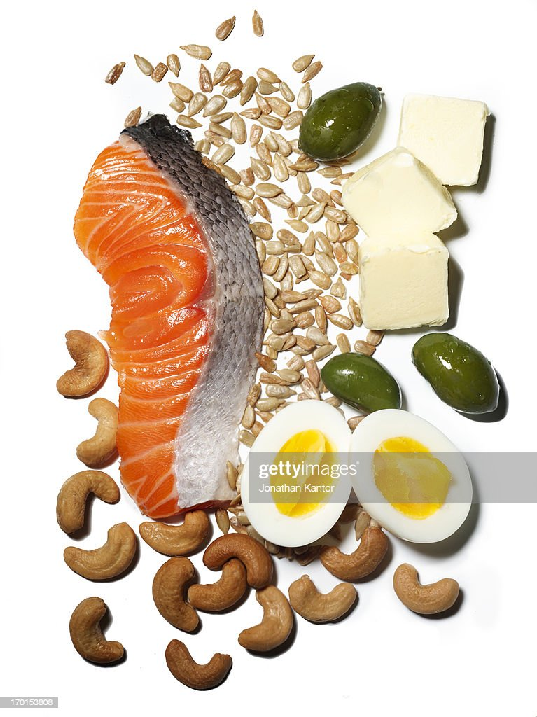 Salmon with Eggs, Cashews, Sunflower Seeds, Olives : Stock Photo