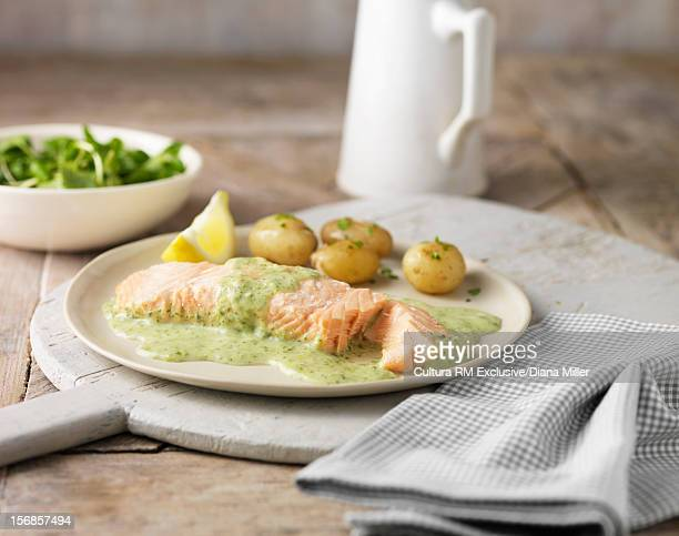 Salmon with potatoes and sauce
