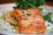 Salmon with risotto at Society On High