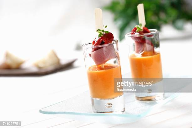 Salmorejo (creamy, cold soup, Spain) with a skewer of fish