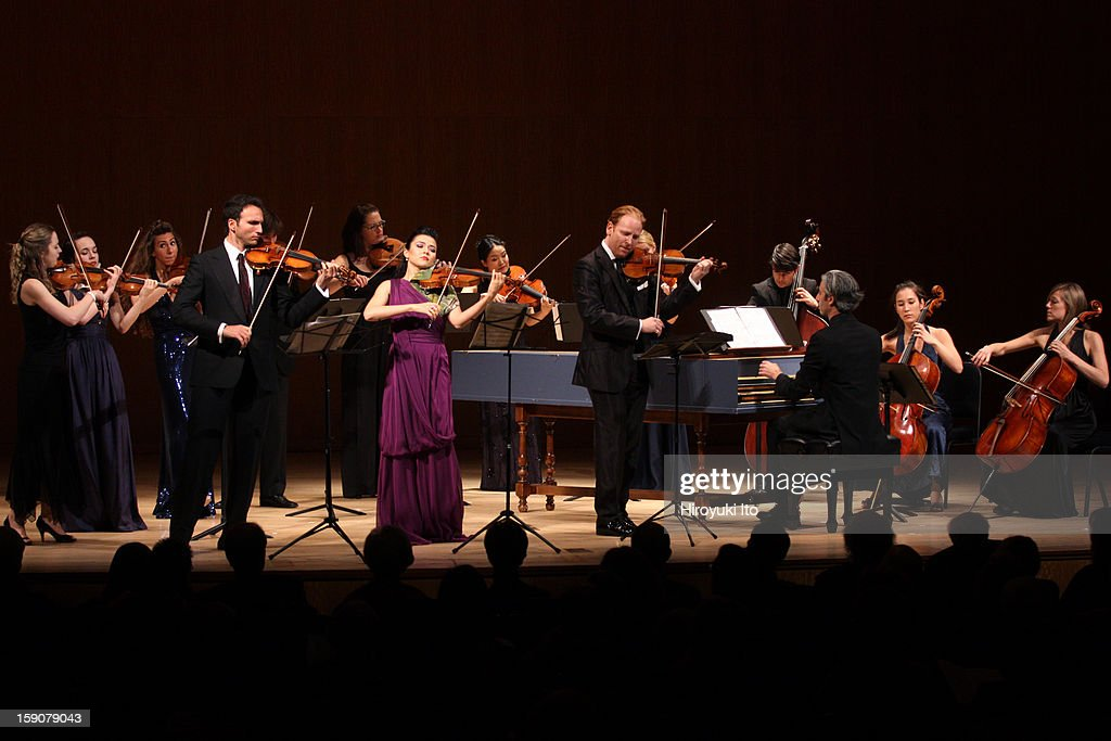 Salome Chamber Orchestra performing all-Bach program at the Metropolitan Museum of Art on Saturday night, December 22, 2012.This image:From left, Sean Avram Carpenter, Karen Gomyo and Daniel Hope with Salome Chamber Orchestra performing Bach's 'Triple Concerto in D Major.'