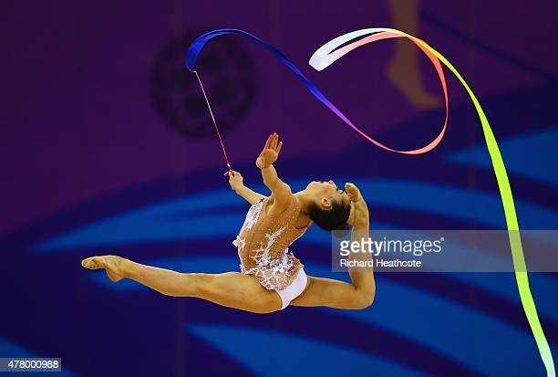 Salome Pazhava of Georgia competes in the Women's Rhythmic Gymnastics Individual Ribbon Final on day nine of the Baku 2015 European Games at the...