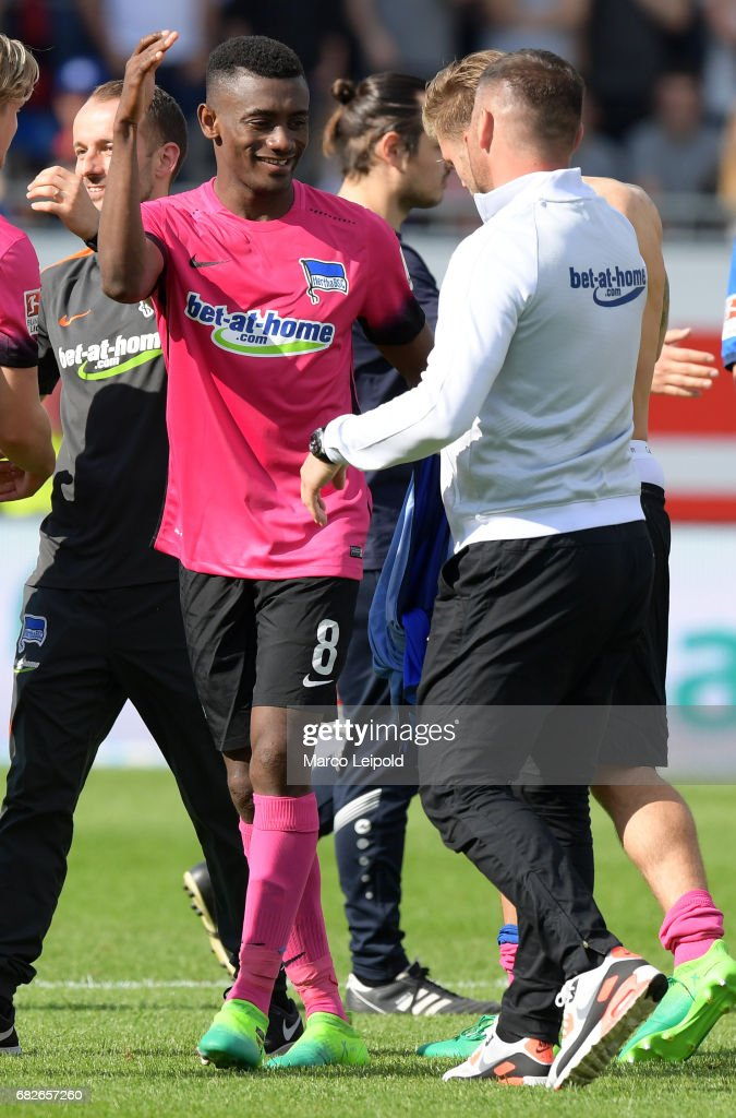 Salomon Kalou and coach Pal Dardai of Hertha BSC after the game between SV Darmstadt 98 and Hertha BSC on may 13, 2017 in Darmstadt, Germany.