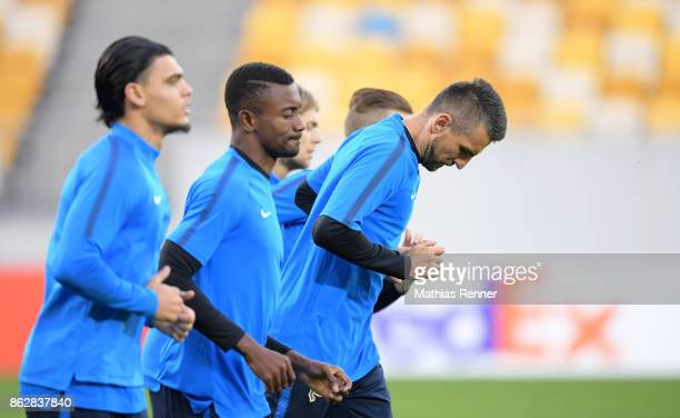 Salomon Kalou and Vedad Ibisevic of Hertha BSC during their training session on October 18 2017 in Luhansk Ukraine
