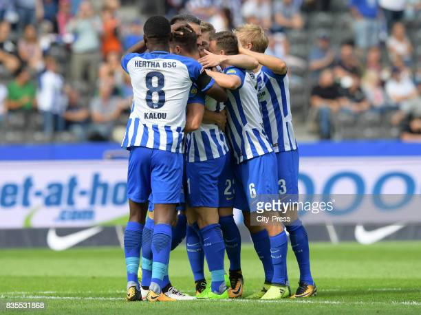 Salomon Kalou Mathew Leckie Vladimir Darida and Per Skjelbred of Hertha BSC celebrate after scoring the 10 during the game between Hertha BSC and dem...
