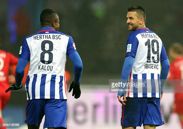 Salomon Kalou of Berlin and team mate Vedad Ibisevic look on during the Bundesliga match between Hertha BSC and FC Augsburg at Olympiastadion on...