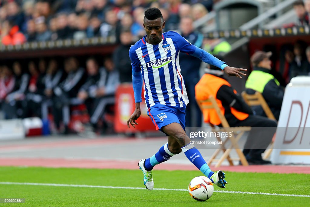 Salomon Kalou of Berlinduring the Bundesliga match between Bayer Leverkusen and Hertha BSC Berlin at BayArena on April 30, 2016 in Leverkusen, Germany.