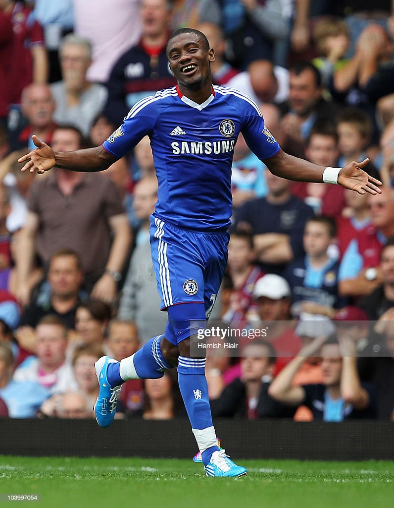 Salomon Kalou of Chelsea celebrates as scores their second goal during the Barclays Premier League match between West Ham United and Chelsea at the Boleyn Ground on September 11, 2010 in London, England.