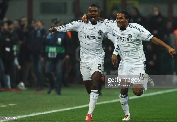Salomon Kalou of Chelsea celebrates his 11 equalising goal with teammate Florent Malouda during the UEFA Champions League round of 16 first leg match...