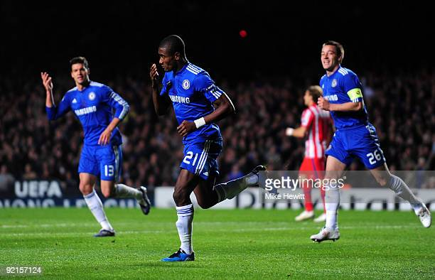 Salomon Kalou of Chelsea celebrates scoring the second goal during the UEFA Champions League Group D match between Chelsea and Atletico Madrid at...