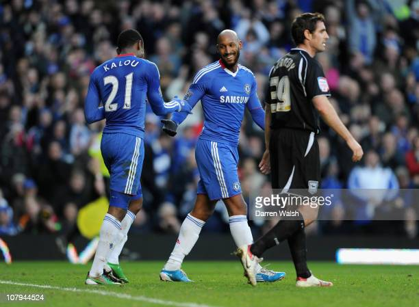 Salomon Kalou of Chelsea celebrates with team mate Nicolas Anelka after Kalou scores the opening goal during the FA Cup sponsored by EON 3rd Round...