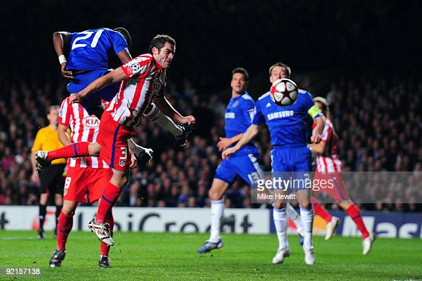 Salomon Kalou of Chelsea scores the second goal during the UEFA Champions League Group D match between Chelsea and Atletico Madrid at Stamford Bridge...