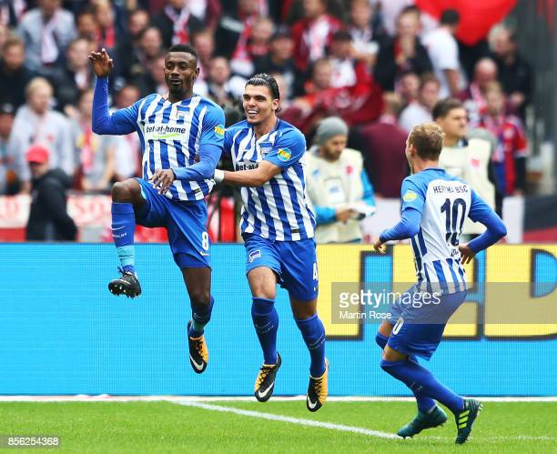 Salomon Kalou of Hertha Berlin celebrates after a goal during the Bundesliga match between Hertha BSC and FC Bayern Muenchen at Olympiastadion on...