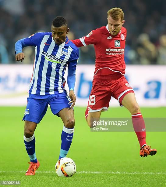 Salomon Kalou of Hertha BSC and Daniel Brosinski of FSV Mainz 05 during the game between Hertha BSC and FSV Mainz 05 on December 20 2015 in Berlin...