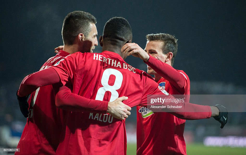Salomon Kalou of Hertha BSC celebrates the fourth goal for his team with Vedad Ibisevic of Hertha BSC and Vladimir Darida of Hertha BSC during the bundesliga match between SV Darmstadt 98 and Hertha BSC at Merck-Stadion am Boellenfalltor on December 12, 2015 in Darmstadt, Germany.