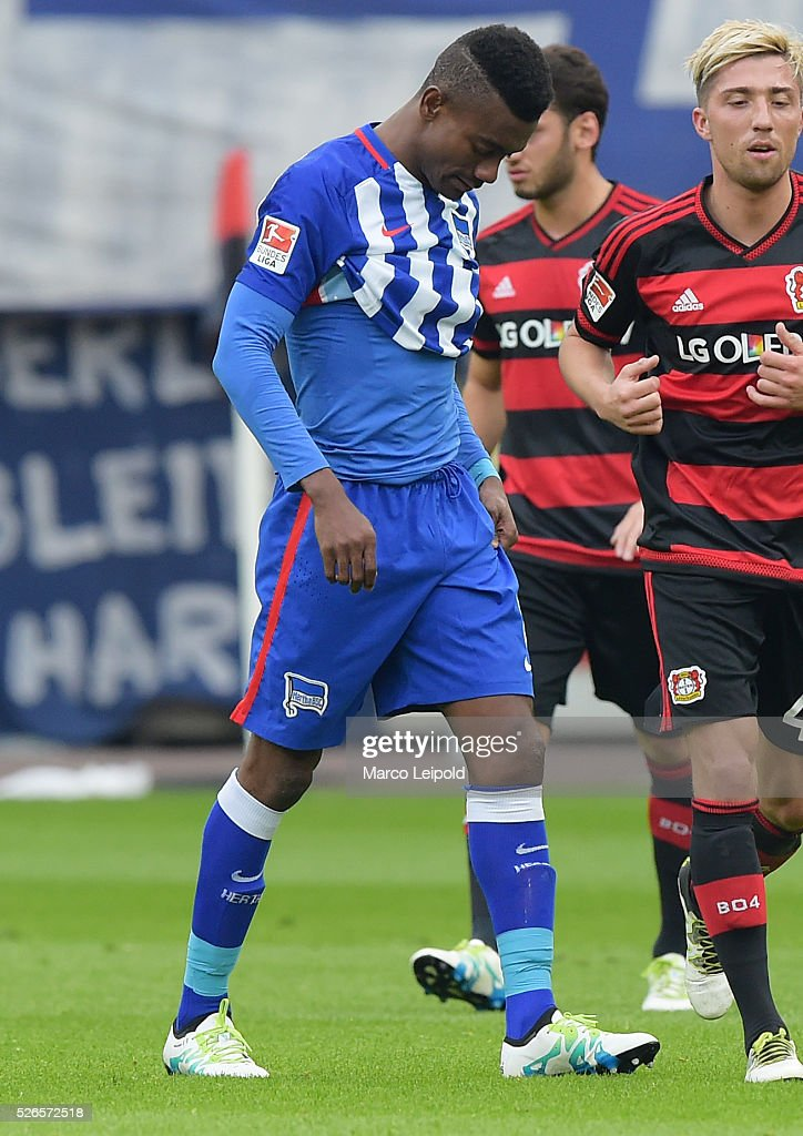 Salomon Kalou of Hertha BSC during the game between Bayer 04 Leverkusen and Hertha BSC on april 30, 2016 in Leverkusen, Germany.